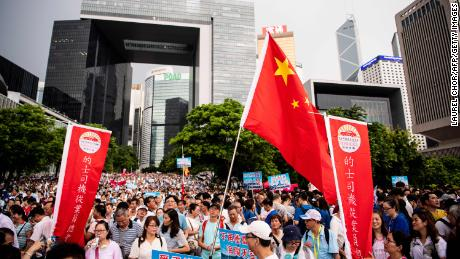 "Hong Kong's self-dubbed ""silent majority"" held a rally in support of the police on July 20, 2019."
