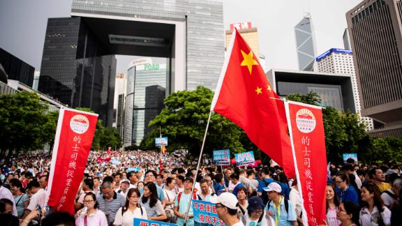 """Hong Kong's self-dubbed """"silent majority"""" held a rally in support of the police on July 20, 2019."""