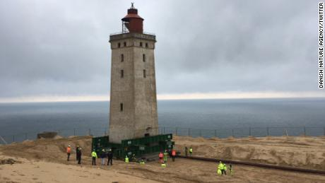 Danes wheel 120-year-old lighthouse from eroding coast at 12 meters per hour