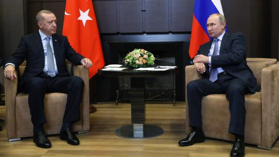 Russian President Vladimir Putin meets with his Turkish counterpart Recep Tayyip Erdogan in Sochi.