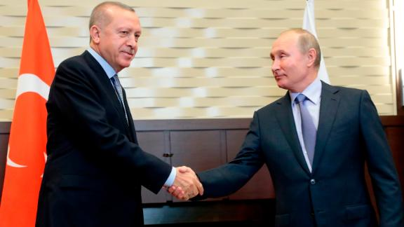 Russian President Vladimir Putin meets with his Turkish counterpart Recep Tayyip Erdogan in Sochi on October 22, 2019. (Photo by Sergei CHIRIKOV / POOL / AFP) (Photo by SERGEI CHIRIKOV/POOL/AFP via Getty Images)