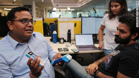 Sharma interacts with employees at Paytm's headquarters in Noida, India. (Saurabh Das for CNN)
