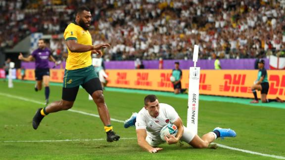 Jonny May scores for England against Australia in the Rugby World Cup quarterfinals.