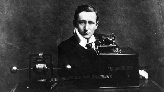 Italian electrical engineer and nobel laureate Guglielmo Marconi with the one of his wireless radio apparatuses. (Photo by Hulton Archive/Getty Images)