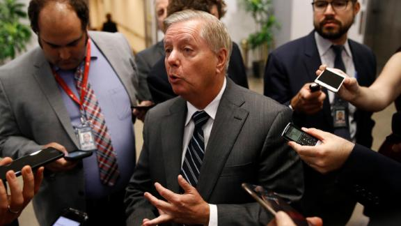 Sen. Lindsey Graham, R-S.C., speaks with members of the media, Tuesday, October 22 2019, on Capitol Hill.