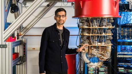 Google CEO Sundar Pichai with the company's quantum computer.