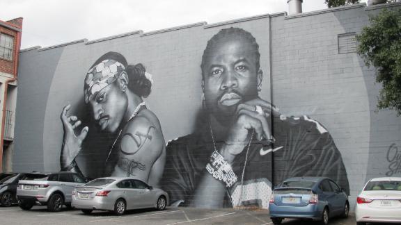 A mural of OutKast in Atlanta