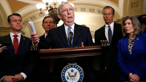 Senate Majority Leader Mitch McConnell of Ky., center, speaks to members of the media following a Senate policy luncheon, Tuesday, October 22.