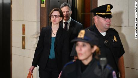 US Deputy Assistant Secretary of Defense for Russia, Ukraine, and Eurasia Laura Cooper arrives at the US Capitol ahead of her closed-door deposition before members of Congress in Washington, DC on October 23.