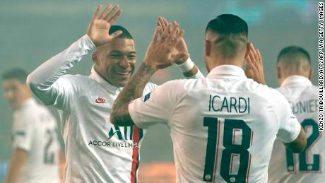 Mbappe and Icardi celebrate during PSG's 5-0 victory over Belgian side Brugge.
