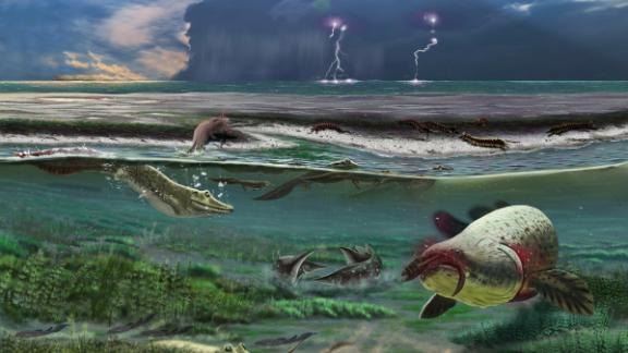 The Sosnogorsk lagoon as it likely appeared 372 million years ago just before a deadly storm, according to an artist