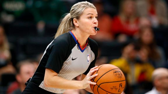 Referee Jenna Schroeder on the court during an NBA preseason game between the Milwaukee Bucks and the Washington Wizards on October 13.