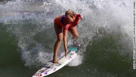 Bethany Hamilton competes during the qualifying round of the World Surf League Surf Ranch Open on September 6, 2018 in Lemoore, California.
