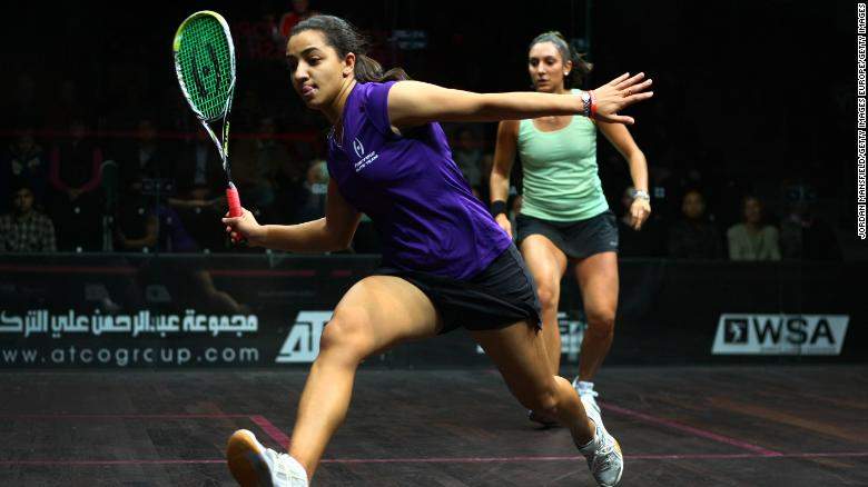 World No.1 Raneem El Welily of Egypt in action against Camille Serme of France.