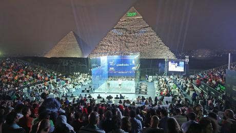 The PSA Women's World Championship and the Men's Egyptian Squash Open will be staged in front of the Pyramids of Giza outside of Cairo.