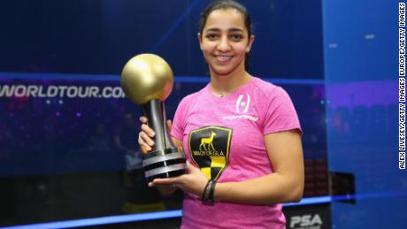 Raneem El Welily of Egypt holds the AJ Bell PSA World Squash Championships trophy after victory over compatriot Nour El Sherbini in 2017.