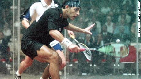 Egyptian Ahmad Barada in action in the 1999 World Open Squash Championship under the Giza pyramids.