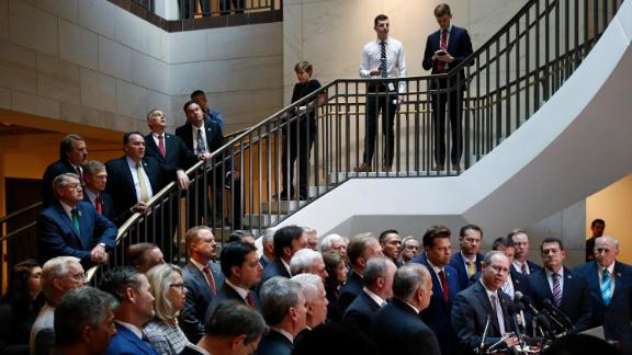 House Republicans gather for a news conference after Deputy Assistant Secretary of Defense Laura Cooper arrived for a closed door meeting to testify as part of the House impeachment inquiry into President Donald Trump, Wednesday, October 23.