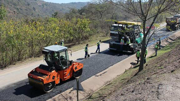 A South African company is taking plastic bottles out of landfill to make roads.