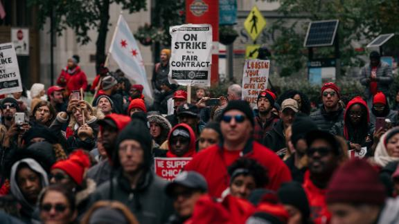 CHICAGO, IL - OCTOBER 23: Thousands of  demonstrators took to the streets of Downtown Chicago, stopping traffic and circling City Hall in a show support for the ongoing teachers strike on October 23, 2019 in Chicago, Illinois. Union teachers and school staff members are demanding more funding from the city in order to lower class sizes, hire more support staff, and build new affordable housing for the 16,000 Chicago Public Schools students whose families are homeless. (Photo by Scott Heins/Getty Images)