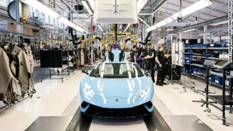 The Lamborghini Aventador production line at the automaker's headquarters in Sant'Agata Bolognese, Italy.