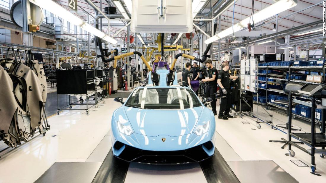 The Lamborghini Aventador production line at the automaker's headquarters in Sant'Agata Bolognese, Italy.