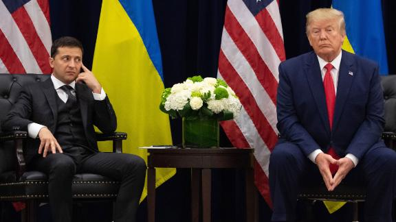 US President Donald Trump and Ukrainian President Volodymyr Zelensky look on during a September 25 meeting in New York.