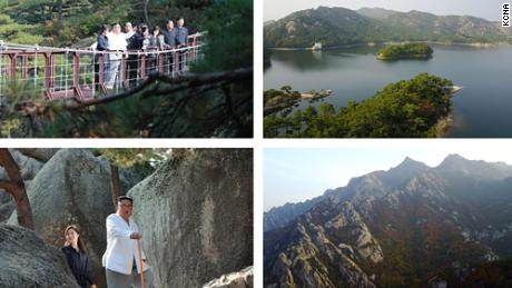 This distributed photo from North Korean state news agency KCNA shows Kim Jong Un visiting Mount Kumgan tourist region.