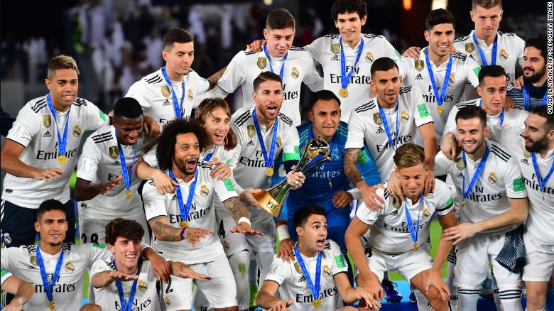 Real Madrid's players celebrate winning the 2018 Club World Cup.