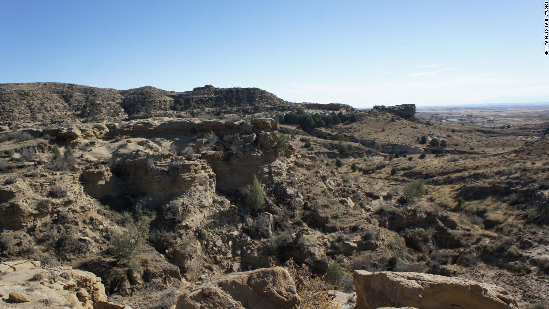 Corral Bluffs contains 300 vertical feet of rock, including hard yellow sandstone and mudstones, which represent ancient rivers and floodplains, respectively.