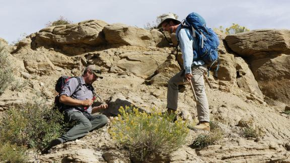 Ian Miller (left) and Lyson found a wealth of fossils representing not just animals, but plants as well.
