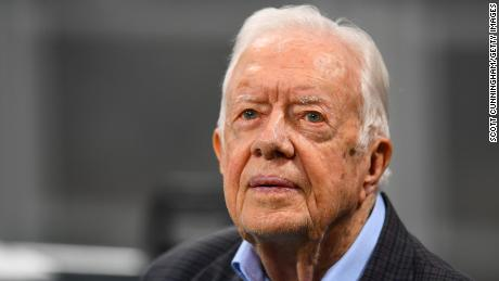 Former president Jimmy Carter prior to an NFL game on September 2018 in Atlanta.