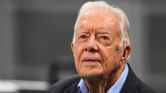 Former president Jimmy Carter prior to an NFL game on September 2018 in Atlanta.