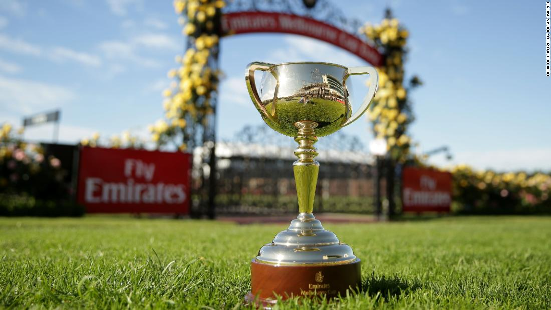 The Melbourne Cup on display at Flemington Racecourse in Melbourne, Australia.
