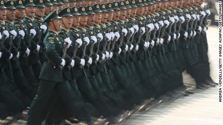 BEIJING, CHINA - OCTOBER 01: Soldiers of the People's Liberation Army march during a parade to celebrate the 70th Anniversary of the founding of the People's Republic of China in 1949, at Tiananmen Square on October 1, 2019 in Beijing, China. (Photo by Andrea Verdelli/Getty Images)