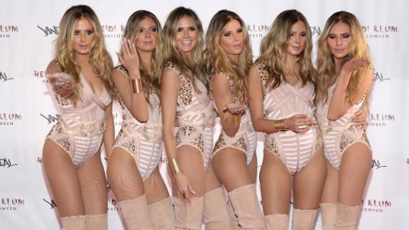 Heidi Klum costumed five models, complete with facial prosthetics, to act as her clones for her 2016 Halloween party.