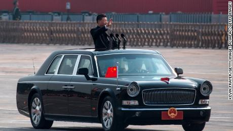 Chinese President Xi Jinping  inspects the troops during a parade to celebrate the People's Republic of China's 70th anniversary on October 1, 2019 in Beijing.