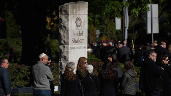 Mourners waited outside Rodef Shalom Temple awaiting the visitation and funeral of brothers Cecil Rosenthal, 59, and David Rosenthal, 54 on October 30, 2018 in Pittsburgh, Pennsylvania.