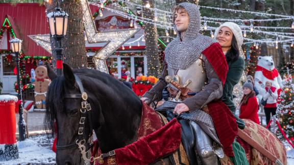 """""""The Knight Before Christmas"""": After a magical sorceress transports medieval knight Sir Cole (Josh Whitehouse) to present-day Ohio during the holiday season, he befriends Brooke (Vanessa Hudgens), a clever and kind science teacher who"""