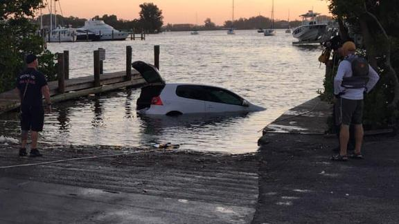 This image shows the vehicle after it was towed to the boat ramp.