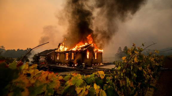 The Kincade Fire burns in the Jimtown community of Sonoma County on October 24.