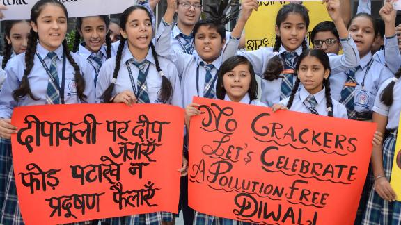 Students participate in an anti-firecracker rally ahead of Diwali in Amritsar on October 23, 2019.