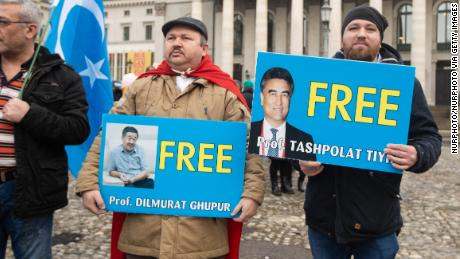 Protesters demanding freedom for Prof. Dilmurat Ghpur and Prof. Tashpolat Tiyh in Munich, Germany, on February 2.