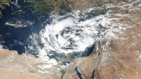 """A """"Medicane,"""" or hurricane-like storm in the Mediterranean, spins near the coasts of Egypt and Israel on Thursday."""