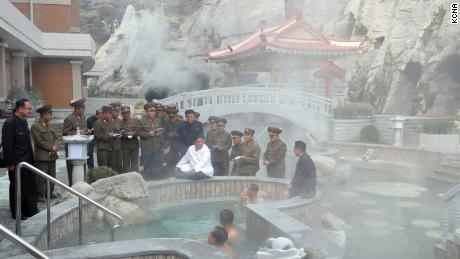 Kim Jong Un visits the Yangdok County Hot Spring Resort in North Korea.