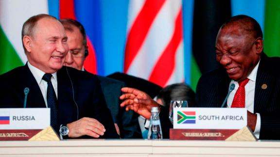 South-Africa's President Cyril Ramaphosa and Vladimir Putin attended the first plenary session as part of the summit.