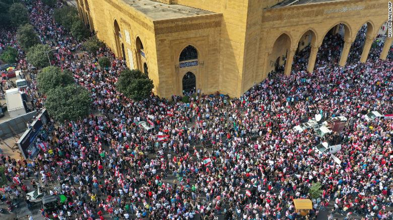 An aerial view shows an anti-government protest in downtown Beirut on October 20.