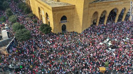 An aerial view shows an anti-government protest, in downtown Beirut, last Sunday.