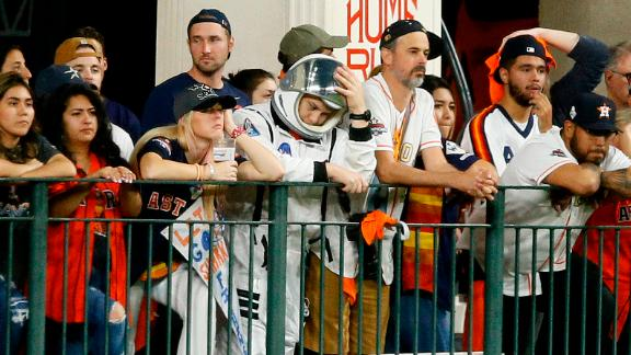 Astros fans react to a Washington home run during the Nationals' 12-3 beatdown in Game 2. Houston lost the first two games at home.
