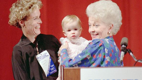Lily Adams as a child, with mother Cecile Richards and grandmother Ann Richards